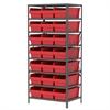 Steel Shelving Kit, 24x36x79, 24 Bins, Gray/Red