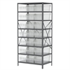 Steel Shelving Kit, 24x36x79, 24 Bins, Gray/Clear