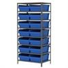 Akro-Mils Steel Shelving Kit, 24x36x79, 16 Bins, Gray/Blue