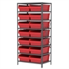 Steel Shelving Kit, 24x36x79, 16 Bins, Gray/Red