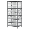 Steel Shelving Kit, 24x36x79, 16 Bins, Gray/Clear