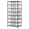 Akro-Mils Steel Shelving Kit, 24x36x79, 16 Bins, Gray/Clear