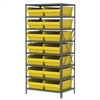 Akro-Mils Steel Shelving Kit, 24x36x79, 16 Bins, Gray/Yellow