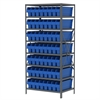 Steel Shelving Kit, 24x36x79, 56 Bins, Gray/Blue