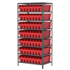 Steel Shelving Kit, 24x36x79, 56 Bins, Gray/Red