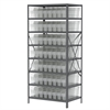 Steel Shelving Kit, 24x36x79, 56 Bins, Gray/Clear
