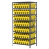 Steel Shelving Kit, 24x36x79, 56 Bins, Gray/Yellow
