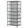 Steel Shelving Kit, 24x36x79, 40 Bins, Gray/Clear