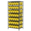 Steel Shelving Kit, 24x36x79, 40 Bins, Gray/Yellow
