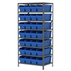 Akro-Mils Steel Shelving Kit, 24x36x79, 32 Bins, Gray/Blue