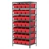 Akro-Mils Steel Shelving Kit, 24x36x79, 32 Bins, Gray/Red