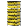 Akro-Mils Steel Shelving Kit, 24x36x79, 32 Bins, Gray/Yellow