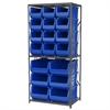 Steel Shelving Kit, 24x36x79, 18 Bins, Gray/Blue