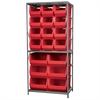 Akro-Mils Steel Shelving Kit, 24x36x79, 18 Bins, Gray/Red