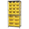 Akro-Mils Steel Shelving Kit, 24x36x79, 18 Bins, Gray/Yellow