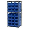 Steel Shelving Kit, 30x36x79, 24 Bins, Gray/Blue