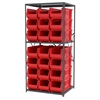 Akro-Mils Steel Shelving Kit, 30x36x79, 24 Bins, Gray/Red