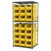 Steel Shelving Kit, 30x36x79, 24 Bins, Gray/Yellow