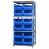 Steel Shelving Kit, 30x36x79, 12 Bins, Gray/Blue