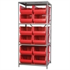 Steel Shelving Kit, 30x36x79, 12 Bins, Gray/Red