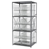Steel Shelving Kit, 30x36x79, 12 Bins, Gray/Clear