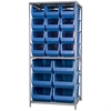 Steel Shelving Kit, 30x36x79, 18 Bins, Gray/Blue
