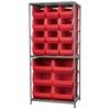 Steel Shelving Kit, 30x36x79, 18 Bins, Gray/Red