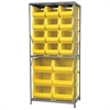 Akro-Mils Steel Shelving Kit, 30x36x79, 18 Bins, Gray/Yellow