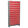 Steel Shelving Kit, 108 AkroDrawers, Gray/Red