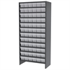 Steel Shelving Kit, 72 AkroDrawers, Gray/Clear