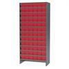 Steel Shelving Kit, 72 AkroDrawers, Gray/Red