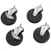 Akro-Mils 4 Swivel 4 Casters 2 w/Brake 2 w/o, Black/Silver