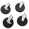 4 Swivel 5 Casters 2 w/Brake 2 w/o, Black/Silver