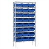 Wire Shelving Kit, 14x36x74, 24 Bins, Chrome/Blue