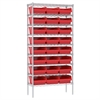 Akro-Mils Wire Shelving Kit, 14x36x74, 24 Bins, Chrome/Red