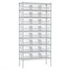 Wire Shelving Kit, 14x36x74, 24 Bins, Chrome/Clear