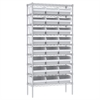Akro-Mils Wire Shelving Kit, 14x36x74, 24 Bins, Chrome/White