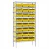 Akro-Mils Wire Shelving Kit, 14x36x74, 24 Bins, Chrome/Yellow