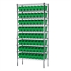 Akro-Mils Wire Shelving Kit, 14x36x74, 64 Bins, Chrome/Green