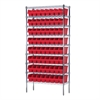 Akro-Mils Wire Shelving Kit, 14x36x74, 64 Bins, Chrome/Red