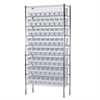 Akro-Mils Wire Shelving Kit, 14x36x74, 64 Bins, Chrome/White