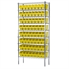 Akro-Mils Wire Shelving Kit, 14x36x74, 64 Bins, Chrome/Yellow