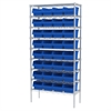 Wire Shelving Kit, 14x36x74, 32 Bins, Chrome/Blue