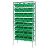 Wire Shelving Kit, 14x36x74, 32 Bins, Chrome/Green