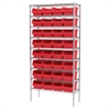 Akro-Mils Wire Shelving Kit, 14x36x74, 32 Bins, Chrome/Red