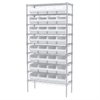 Wire Shelving Kit, 14x36x74, 32 Bins, Chrome/White