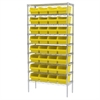 Akro-Mils Wire Shelving Kit, 14x36x74, 32 Bins, Chrome/Yellow