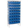 Wire Shelving Kit, 14x36x74, 40 Bins, Chrome/Blue