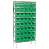 Akro-Mils Wire Shelving Kit, 14x36x74, 40 Bins, Chrome/Green