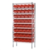 Akro-Mils Wire Shelving Kit, 14x36x74, 40 Bins, Chrome/Red